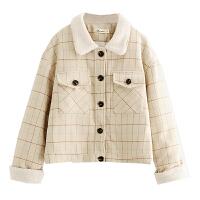短款毛领毛呢外套女装秋冬季流行新款格子学生韩版呢子大衣潮 卡其色