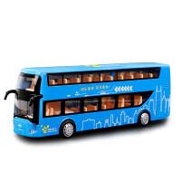 【合金公交车双层】快乐双层巴士合金车模 1:48真人语音儿童玩具车公交车模型