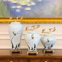 家居装饰品欧式新中式客厅样板间陶瓷结婚礼物创意电视柜摆件套装花瓶花艺摆件