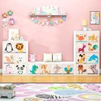 儿童收纳柜简约玩具柜子储物柜幼儿园书柜格子柜自由组合整理箱