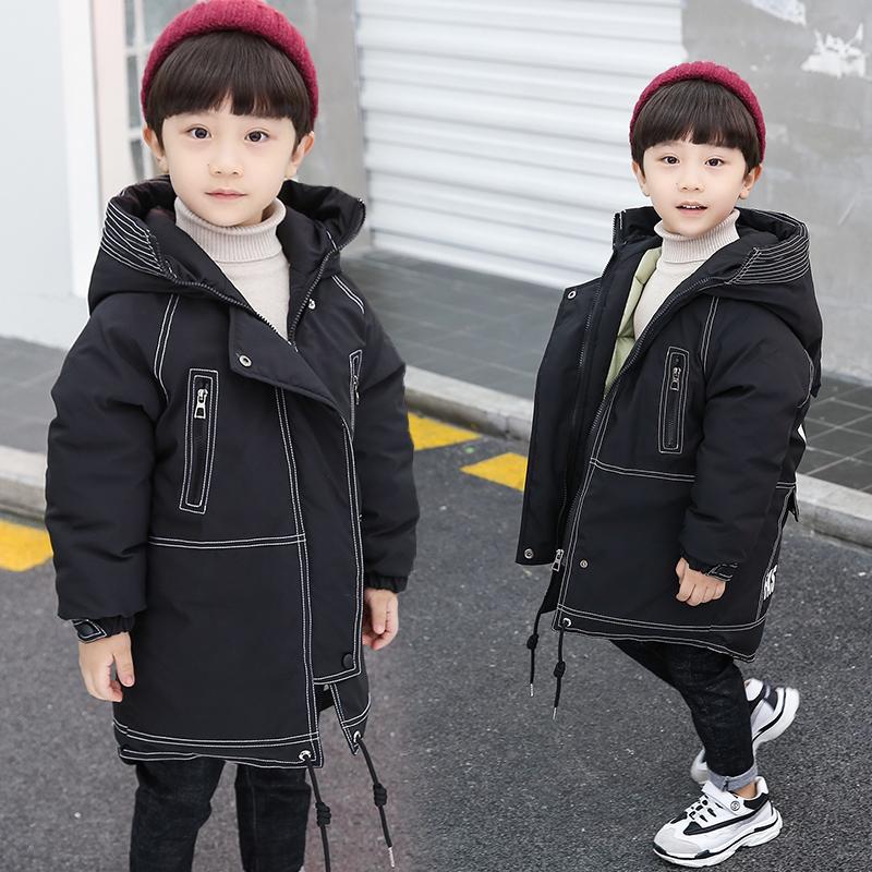 2019新款洋气中大童加厚棉袄外套男童冬装中长款棉衣