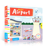 顺丰发货 新版 Busy Airport纸板书 幼儿启蒙认知英文原版趣味读物 孩子可以藉由推、拉和转动的过程,运动自