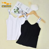 女夏天白色黑色无袖上衣中大童织带肩带韩版打底外穿儿童吊带背心
