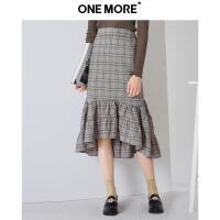 【10.23超品日 秒杀价:60】ONE MORE2018冬装新款荷叶边半身裙女包臀裙不规则下摆格子裙子