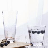 日式锤纹玻璃杯家用耐热茶杯创意杯子果汁牛奶杯ins风北欧啤酒杯