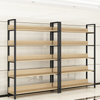 钢木书架简约铁艺货架落地多层置物架客厅架子服装展示架书柜定制
