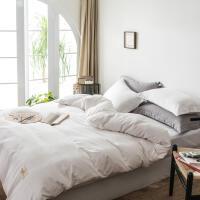 民宿风床上用品四件套北欧极简纯白色磨毛被套床单宿舍日式三件套