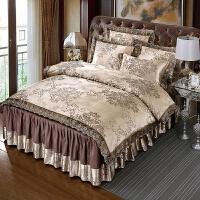 全棉床罩床裙款四件套纯棉欧式贡缎提花婚庆蕾丝花边被套床上用品