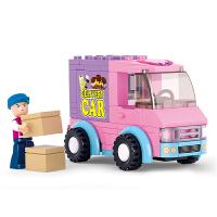 快乐小鲁班积木 拼装塑料玩具超市配送车女孩玩具6岁抖音