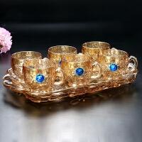 欧式简约创意水晶玻璃杯子家用套装客厅杯喝水杯热水茶具托盘 金色梅花杯子套装 送杯垫6只