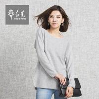 红莲 秋冬新款韩版中长款羊绒衫女纯羊绒宽松低圆领毛衣