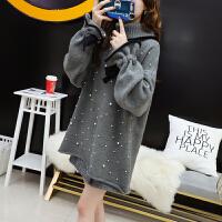 钉珠高领毛衣女套头中长款秋冬2018新款韩版宽松慵懒风的 均码品质