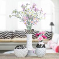 家居饰品现代简约花瓶客厅插花装饰品创意镂空镀银干花花器小摆件