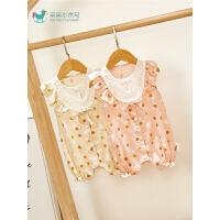 夏季婴儿宝宝连体衣薄款洋气外出服女宝宝夏装可爱无袖哈衣