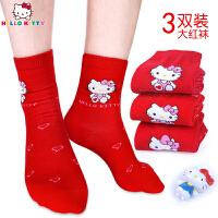 hellokitty凯蒂猫儿童袜子女童本命年大红色袜子属鼠12岁女孩中筒袜24岁棉袜
