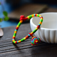 端午节五彩绳粽子手链手工编织手绳宝宝红绳脚链男女儿童婴儿饰品