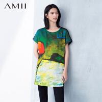 【AMII 超级品牌日】AMII[极简主义]夏圆领抽象印花宽松雪纺拼棉氨连衣裙11670893