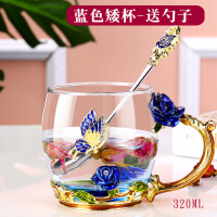 珐琅彩花茶杯随手水杯玻璃杯子家用口杯创意潮流欧式咖啡杯带把盖