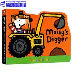 Maisy 小鼠波波系列 英文原版绘本0 3岁 Maisy's Digger 挖掘机 交通工具造型纸板书