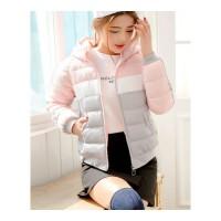 反季女短款韩版宽松bf羽绒服冬装新款加厚学生小棉袄外套 粉配灰
