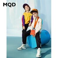 【2件3折:84】MQD男童长袖T恤纯棉2020春季新款中大童宽松运动上衣拼接体恤