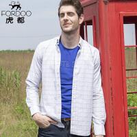 2件3折 虎都 纯棉质长袖格子衬衫男士 白格子春秋季商务中年上衣休闲青年外套男装HD19615