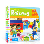 顺丰发货 Busy Railway 纸板书 幼儿启蒙认知英文原版趣味读物 孩子可以藉由推、拉和转动的过程,运动自己的小