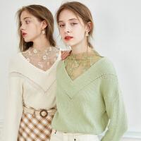【520告白季】ONEMORE 秋新V领针织衫蕾丝拼接牛油果绿毛衣女