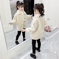 韩版小女孩洋气加绒加厚上衣潮2019秋冬季新款女童毛毛衣外套