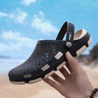 洞洞鞋男士2019新款夏季外穿拖鞋软底潮流包头韩版凉鞋沙滩鞋