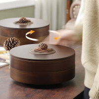 干果盘糖果盒家用木质客厅双层旋转瓜子点心水果盘零食分格收纳盒