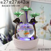 【好货】客厅小型桌面迷你懒人金鱼缸超白玻璃陶瓷创意水族箱生态家用圆形