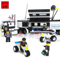 启蒙积木 乐高式拼装积木 防爆追踪车拼插积木玩具 儿童警察系列拼搭益智玩具