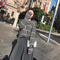 条纹毛衣女百搭秋冬新款宽松套头衫时尚保暖针织打底衫 灰色 现货