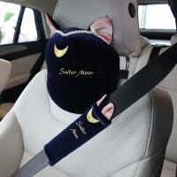 毛绒猫耳朵可爱汽车头枕车载颈垫月亮护肩车内肩带猫咪内饰品通用