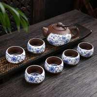 【好店】粗陶茶具套装 创意功夫茶具套组 紫砂茶具 10件