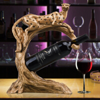 个性豹子红酒架摆件酒柜装饰品吧台酒吧咖啡厅高档酒瓶架创意欧式复古工艺摆设乔迁礼品