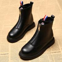 短靴女秋冬季学生韩版拉链短筒百搭平底加绒女靴中筒马丁鞋女 加绒黑色
