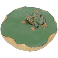 紫砂创意茶具茶宠 喷水青蛙摆件 荷塘蛙趣精品香插茶玩可养 陈真-聚真堂精品荷趣茶宠
