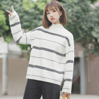 高领毛衣女套头2018新款学生宽松chic秋冬学院风条纹针织衫