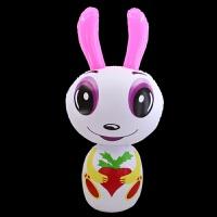 儿童充气玩具大号不倒翁兔子熊猫老虎企鹅不倒翁地摊夜市 灰色 90#不倒翁兔子