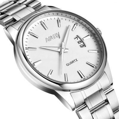 简约商务手表男士夜光日历精钢带非机械石英电子腕表