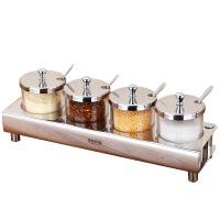 调料盒套装家用玻璃调味瓶厨房盐糖辣椒油罐不锈钢调味品罐组合装