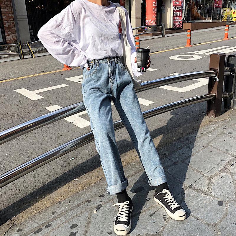 宽松牛仔裤女加绒冬装浅色bf风学生韩版高腰百搭阔腿直筒老爹长裤