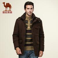 骆驼男装 冬季直筒可脱卸领男士棉衣商务休闲长款风衣系列棉服 男