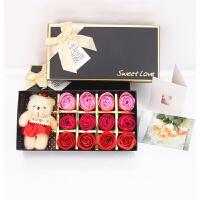 藤印象 定制圣诞节情人节礼物12朵小熊玫瑰花礼盒创意礼品首饰盒情人节礼物复活节 12朵 红三彩+小熊