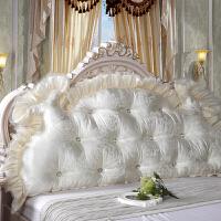 秋上新韩式田园公主床头大靠背软床头大靠垫床上双人长靠枕含芯床头软包定制 乳白色 曼莎米白