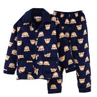 睡衣男冬季法兰绒加厚棉袄三层夹棉保暖珊瑚绒大码男士家居服套装