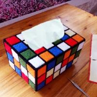 3D十字绣套件新款立体绣加粗毛线绣抽纸纸巾盒彩色魔方格DIY客厅 《新手已裁剪》魔方抽纸盒