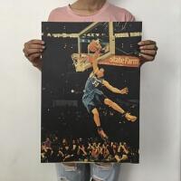 海报超大 巨幅 超大韦德篮球海报复古宿舍墙贴装饰A 杏色 H837麦基 51x35cm 买6送11张 收藏店铺送双面